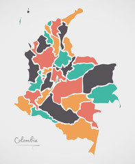 Colombia Map with states and modern round shapes