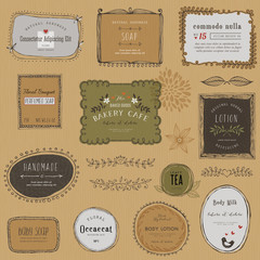 Vintage hand drawn labels, frames, flowers and floral dividers. Good for package design, promo signs and logo design.Vector illustration.