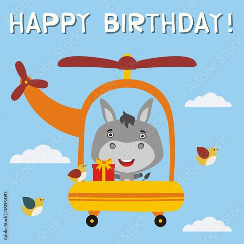 Happy birthday Funny donkey with birthday gift flying on – Donkey Birthday Card
