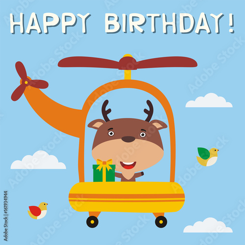 Happy birthday funny deer with birthday gift flying on helicopter happy birthday funny deer with birthday gift flying on helicopter birthday card with little bookmarktalkfo Image collections
