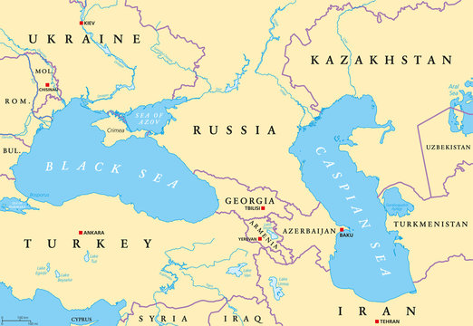 Black Sea and Caspian Sea region political map with capitals, international borders, rivers and lakes. Bodies of water between Eastern Europe and Western Asia. Illustration. English labeling. Vector.