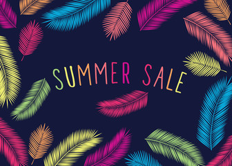 Promotional poster with bright tropical leaves.  Summer sale. Trendy colors. Dark background. Vector.