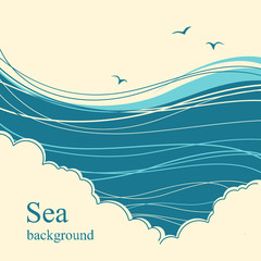 Sea waves.Seascape illustration horizon for text