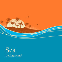 Ocean waves and tropical island.Vector background