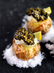 Roasted Young Potatoes with Sour Cream and Black Caviar