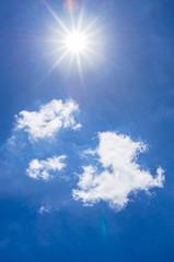 Blauer Himmel Sonne und Wolken
