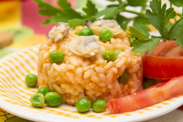 dish with seafood risotto.