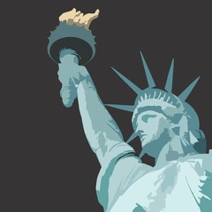 Statue of liberty close up with torch vector illustration with bronze patina and grey background