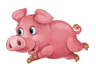 Cartoon happy pig is smiling looking and smiling / artistic style - isolated illustration for children