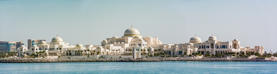Panoramic view of United Arab Emirates (UAE) Presidential Palace in Abu Dhabi