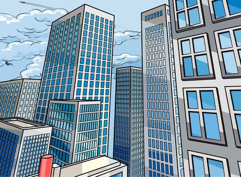 Background City Buildings Scene