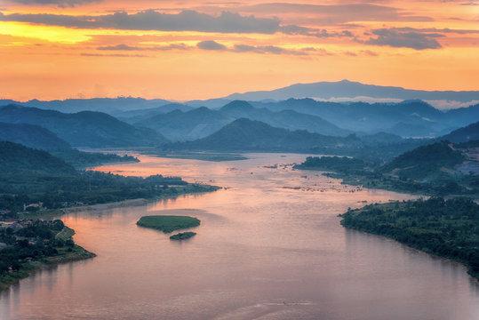 Sunset behind hill and Mekong river view at Nong Khai