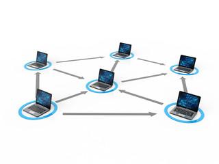 Computer Network. 3d rendering