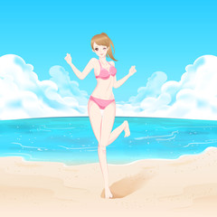 beauty woman in beach