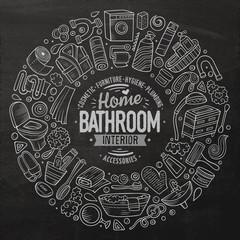 Vector set of Bathroom cartoon doodle objects