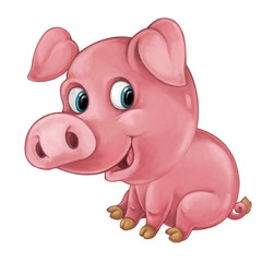 Cartoon happy pig is smiling looking and smiling - artistic style - isolated - illustration for children
