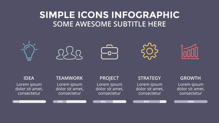 Vector icons minimal infographic, text diagram, flat percents status graph, presentation chart. Business concept with 5 options, parts, steps, processes. 16x9 dark slide template.