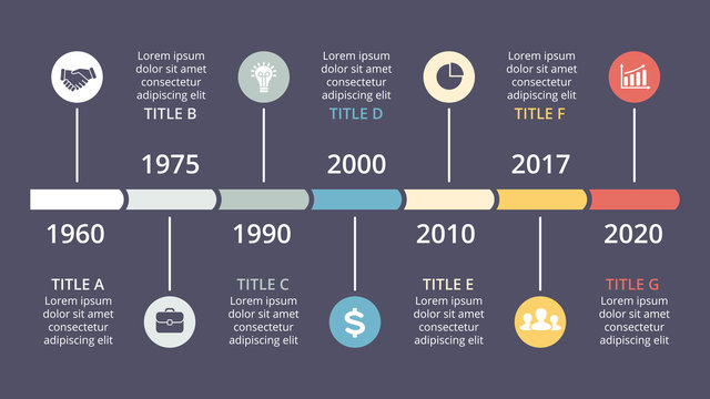 Vector circle timeline infographic, cycle diagram, years graph, presentation chart. Business concept with 7 options, parts, steps, processes. 16x9 dark slide template.