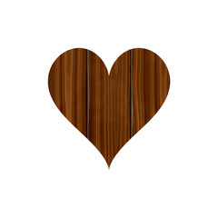 Wooden planked heart isolated on white background, love rustic decor