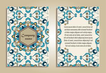 Vector set of colorful brochure templates for business and invitation. Portuguese, Moroccan; Azulejo; Arabic; asian ornaments
