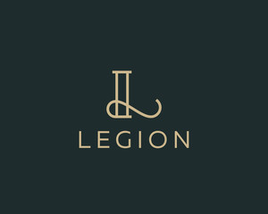 Elegant line curve vector logotype. Premium letter L logo design. Luxury linear creative monogram.