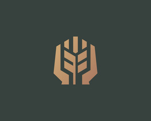 Ear vector logotype. Grain wheat with hands logo design.
