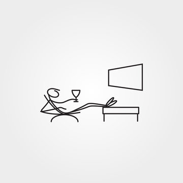 Cartoon icons set of sketch stick figure relaxing