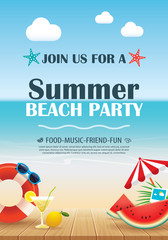 Beach party invitation poster with vacation element wooden and blue water. Vector summer background.