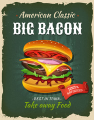 Retro Fast Food Bacon Burger Poster