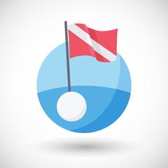 Diving warning flag vector flat icon