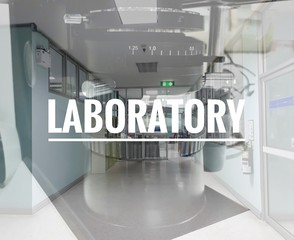 Double exposure of laboratory corridor and a part of light microscope, with the laboratory banner background.