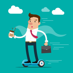 Businessman holding a cup of coffee and briefcase going to work by hoverboard. Isolated vector illustration.