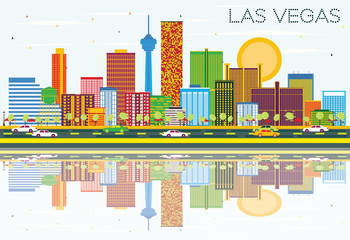 Las Vegas Skyline with Color Buildings, Blue Sky and Reflections.