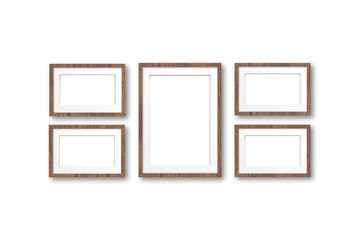 Five photo frames set, interior decor  mock up