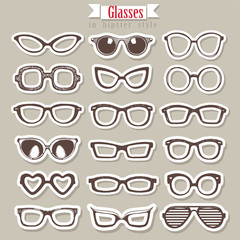 Summer sunglasses vector set