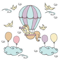Little unicorn in air balloon looks into a spyglass / Unicorn with birds and clouds, vector illustration, freehand style