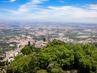 View of the mountains, parks and the village of Sintra from the Moorish Castle