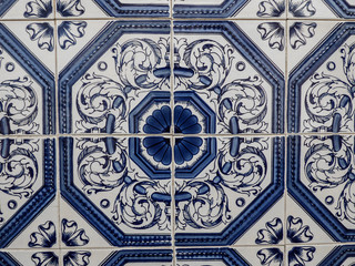 Traditional hand-painted Portuguese tiles (azulejos)