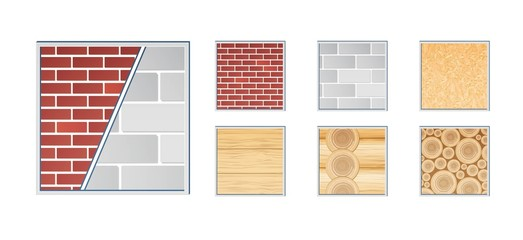A vector illustration of various wall elements for building and construction. Grouped and layered for easy editing. Close view.