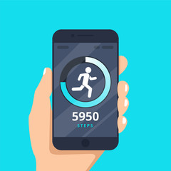 Fitness tracking app on mobile phone screen vector illustration flat cartoon style, smartphone with run tracker