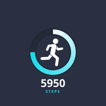 Fitness tracking app cocept logo vector illustration. Run tracker icon, running or walk steps counter sport tech.