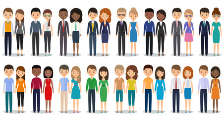 Flat people characters. Vector. Men, women in casual and business clothes standing together. Cartoon males, females isolated on white background. Icons businessmen and businesswomen.