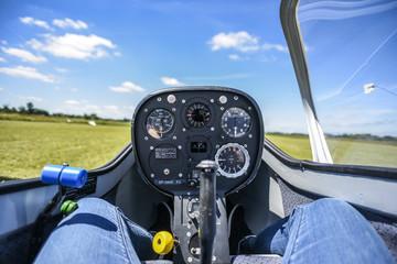 Cockpit od the saiplane, sailplane inside.
