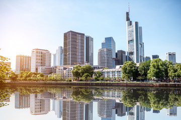 Fototapete - View on the financial district with Main river in Frankfurt city, Germany