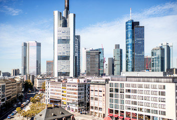 Fototapete - Beautiful skyline with skyscrapers at the financial district in Frankfurt city, Germany