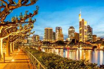 Fototapete - Beautiful cityscape view on the illuminated skyscrapers and green alley during the twilight in Frankfurt, Germany