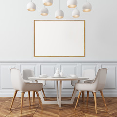 White wall dining room, white chairs