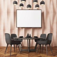 Beige textured wall dining room, black chairs
