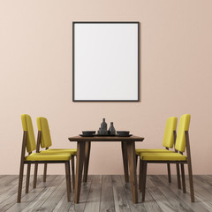 Beige wall dining room, yellow chairs