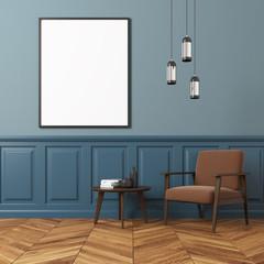 Blue wall living room, brown armchair